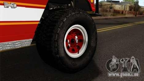 Hummer H1 Fire für GTA San Andreas zurück linke Ansicht