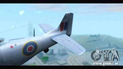 P-51 Mustang Mk4 pour GTA San Andreas sur la vue arrière gauche
