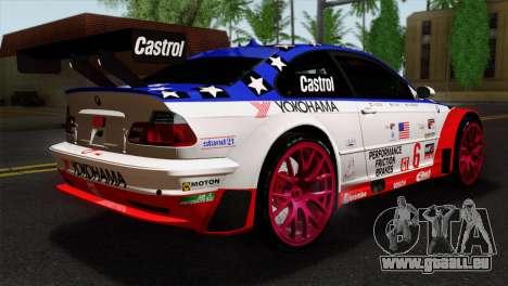 BMW M3 GTR 2001 Prototype Technology Group pour GTA San Andreas laissé vue
