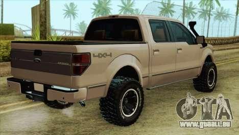 Ford F-150 Platinum 2013 4X4 Offroad pour GTA San Andreas laissé vue