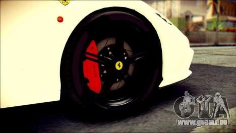 Ferrari 458 Speciale 2015 Stripe pour GTA San Andreas sur la vue arrière gauche