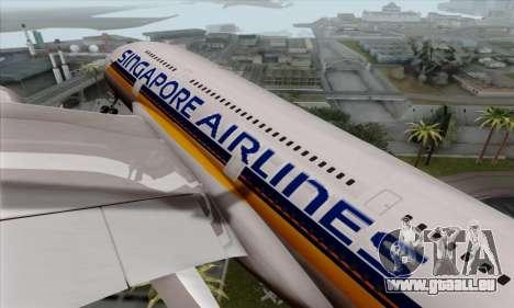 Airbus A380-800 Singapore Airline für GTA San Andreas Rückansicht