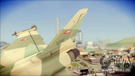 EuroFighter Typhoon 2000 Hungarian Air Force für GTA San Andreas zurück linke Ansicht