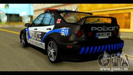 Toyota Altezza Police pour GTA San Andreas laissé vue