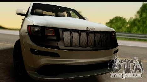 Jeep Grand Cherokee SRT8 2014 pour GTA San Andreas sur la vue arrière gauche