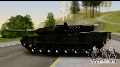 Leopard 2A6 Woodland pour GTA San Andreas sur la vue arrière gauche