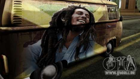 Volkswagen T2 Bob Marley für GTA San Andreas Rückansicht