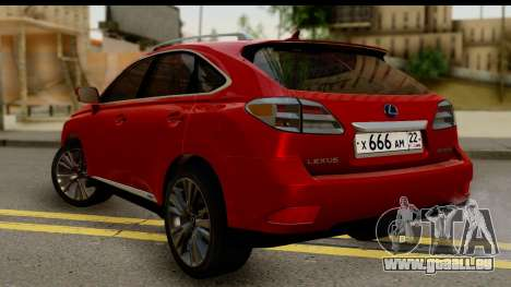 Lexus RX450h pour GTA San Andreas laissé vue