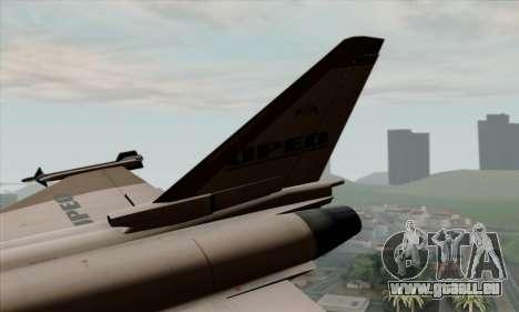 Eurofighter Typhoon 2000 UPEO pour GTA San Andreas sur la vue arrière gauche