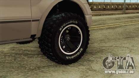 Ford F-150 Platinum 2013 4X4 Offroad für GTA San Andreas zurück linke Ansicht