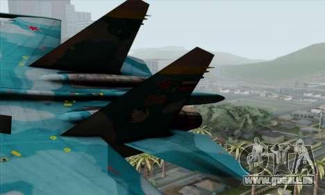 SU-27 Flanker A Warwolf Squadron pour GTA San Andreas sur la vue arrière gauche