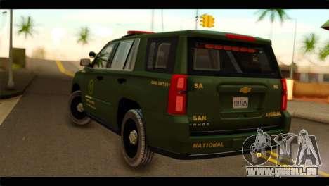 Chevrolet Suburban 2015 SANG für GTA San Andreas linke Ansicht