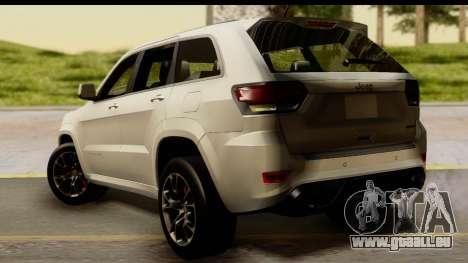 Jeep Grand Cherokee SRT8 2014 pour GTA San Andreas laissé vue