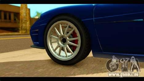 GTA 5 Grotti Turismo pour GTA San Andreas sur la vue arrière gauche