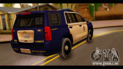 Chevrolet Suburban 2015 BCSD Sheriff für GTA San Andreas linke Ansicht