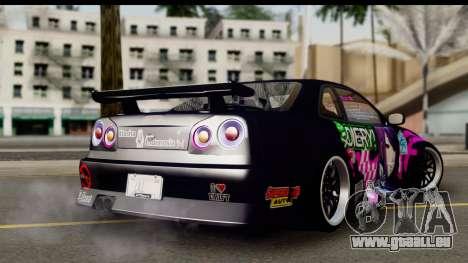 Nissan Skyline GT-R Rize Itasha pour GTA San Andreas laissé vue