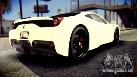 Ferrari 458 Speciale 2015 pour GTA San Andreas laissé vue