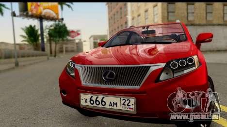 Lexus RX450h pour GTA San Andreas sur la vue arrière gauche