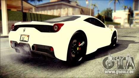Ferrari 458 Speciale 2015 Stripe pour GTA San Andreas laissé vue