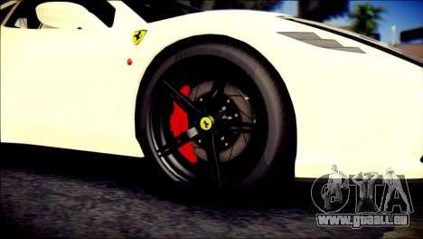 Ferrari 458 Speciale 2015 pour GTA San Andreas sur la vue arrière gauche