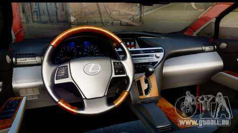 Lexus RX450h pour GTA San Andreas vue intérieure