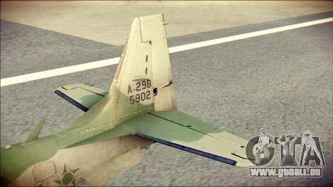 Embraer EMB-314 Super Tucano E pour GTA San Andreas sur la vue arrière gauche