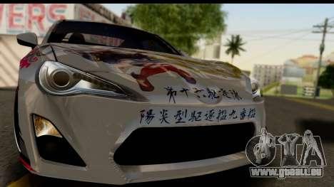 Toyota GT86 Itasha pour GTA San Andreas sur la vue arrière gauche