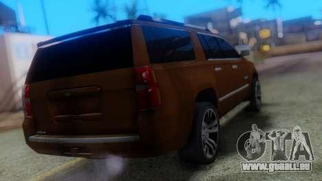 Chevrolet Suburban 2015 pour GTA San Andreas laissé vue