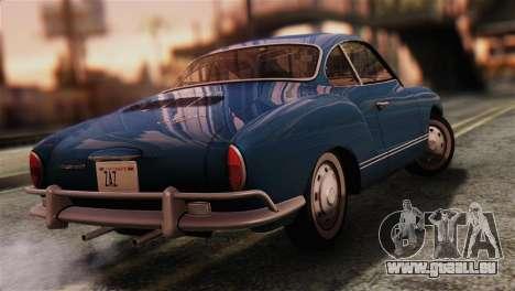 Volkswagen Karmann-Ghia Coupe (Typ 14) 1955 IVF pour GTA San Andreas laissé vue