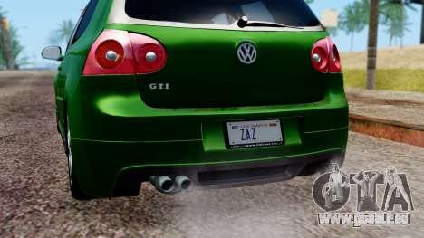 Volkswagen Golf Mk5 GTi Tunable PJ pour GTA San Andreas vue de dessus