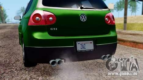 Volkswagen Golf Mk5 GTi Tunable PJ pour GTA San Andreas salon