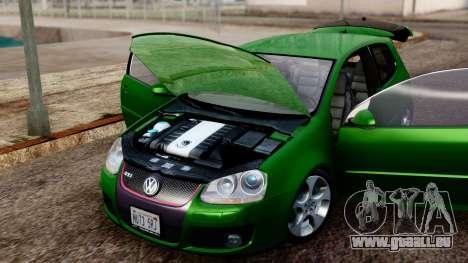 Volkswagen Golf Mk5 GTi Tunable PJ pour GTA San Andreas vue arrière