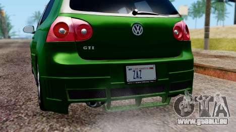 Volkswagen Golf Mk5 GTi Tunable PJ pour GTA San Andreas vue de dessous