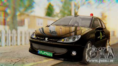 Peugeot 206 Coupe Police für GTA San Andreas rechten Ansicht