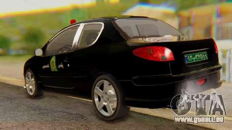 Peugeot 206 Coupe Police für GTA San Andreas zurück linke Ansicht