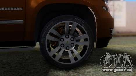 Chevrolet Suburban 2015 pour GTA San Andreas sur la vue arrière gauche
