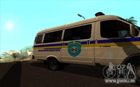 GAZelle 2705 Dragueur De Mines De L'Ukraine pour GTA San Andreas sur la vue arrière gauche