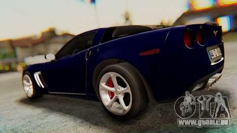 Chevrolet Corvette Sport pour GTA San Andreas sur la vue arrière gauche