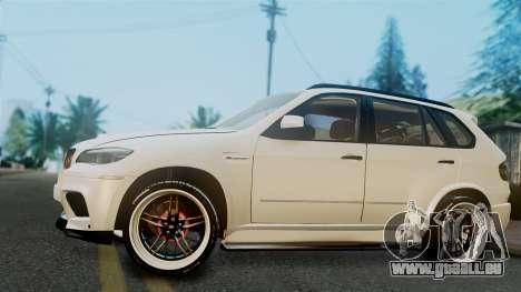 BMW X5M 2014 E-Tuning pour GTA San Andreas sur la vue arrière gauche