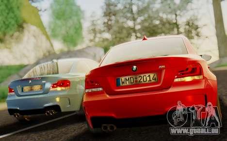 BMW 1M E82 pour GTA San Andreas sur la vue arrière gauche