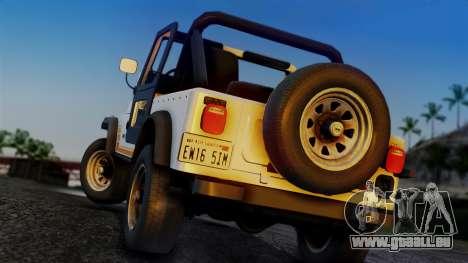 Jeep CJ-7 Renegade 1982 pour GTA San Andreas laissé vue
