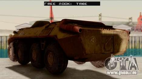 БТР-70 Rouille de S. T. A. L. K. E. R. pour GTA San Andreas sur la vue arrière gauche