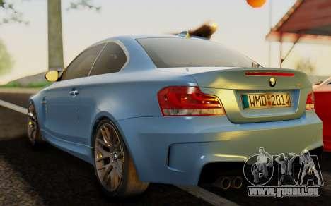 BMW 1M E82 pour GTA San Andreas laissé vue