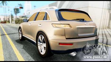 Infiniti FX45 pour GTA San Andreas laissé vue