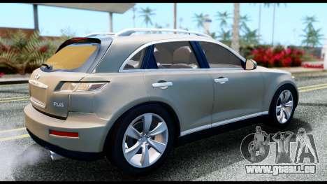 Infiniti FX45 pour GTA San Andreas sur la vue arrière gauche