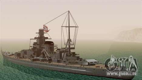 Scharnhorst Battleship für GTA San Andreas zurück linke Ansicht