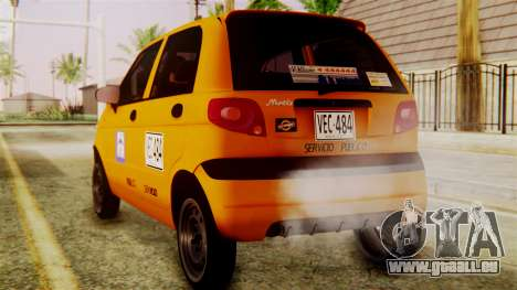 Daewoo Matiz Taxi pour GTA San Andreas laissé vue