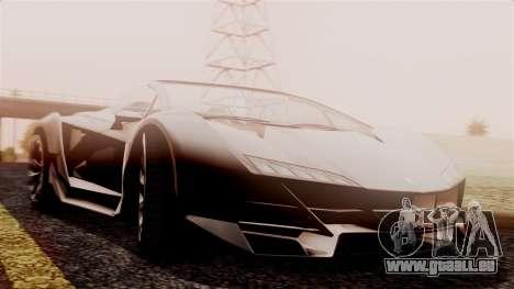 Pegassi Zentorno Cabrio v2 pour GTA San Andreas sur la vue arrière gauche