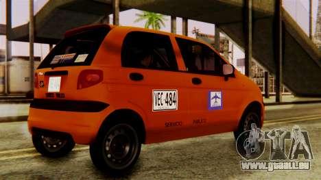 Daewoo Matiz Taxi pour GTA San Andreas sur la vue arrière gauche