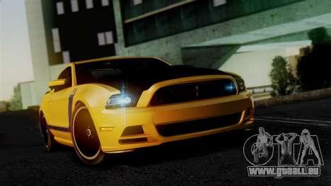 Ford Mustang Boss 302 2013 für GTA San Andreas Rückansicht